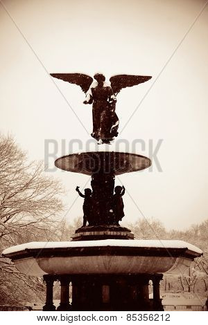 Central Park winter with Bethesda Fountain in midtown Manhattan New York City