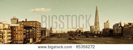 London urban architecture panorama over Thames River