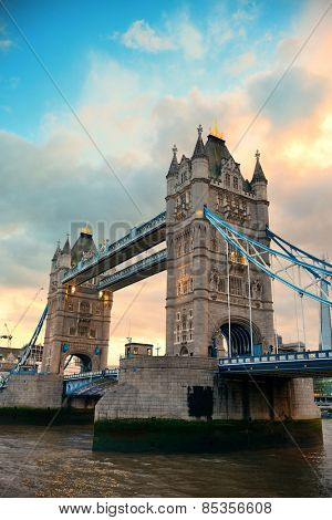 Tower Bridge over Thames River in London