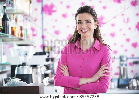 Beautiful Smiling Waitress In A Cafe