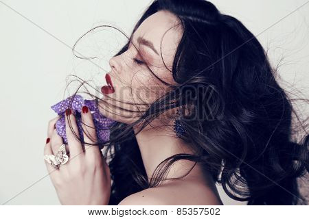 Beautiful Sensual Woman With Dark Hair And Bright Makeup