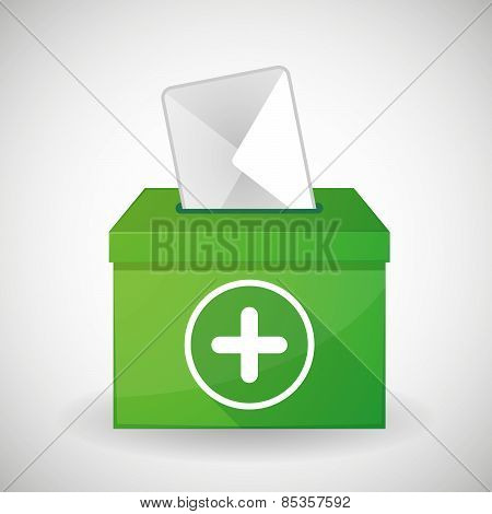 Green Ballot Box With A plus Sign