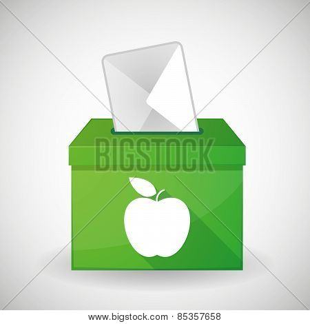 Green Ballot Box With A Fruit