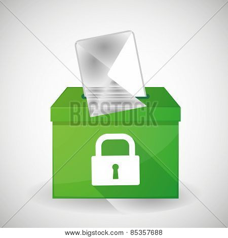 Green Ballot Box With A Lock Pad