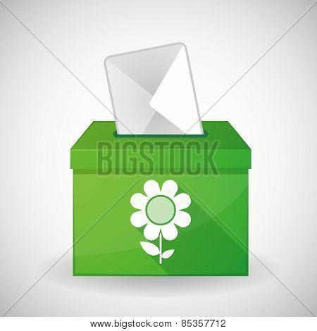 Green Ballot Box With A Flower