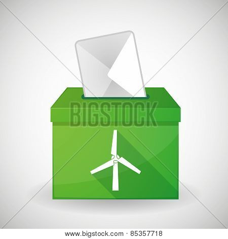 Green Ballot Box With A Wind Generator