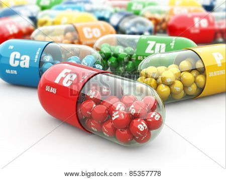 Dietary supplements. Variety pills. Vitamin capsules on white. 3d