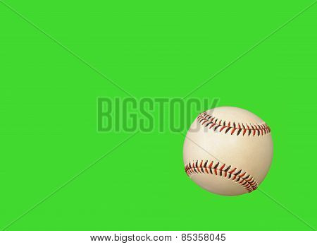 Baseball On Green Background.
