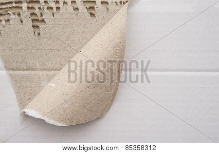 Cardboard Corrugated Pattern With A Torn Corner, Horizontal