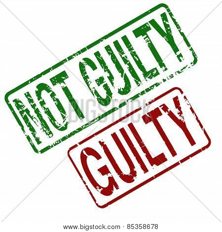 Guilty  Not Guilty - vector rubber stamp with grunge style