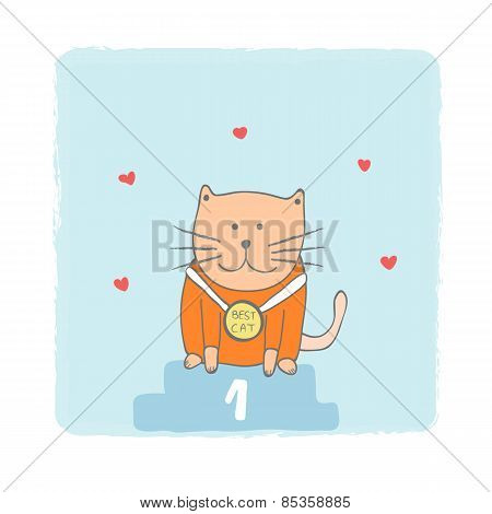 Best Cat Card, Vector Illustration
