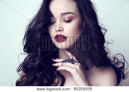 Beautiful Sensual Woman With Dark Hair And Bright Makeup With Bijou