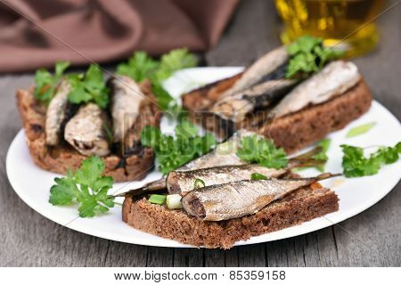 Sandwiches With Sprats And Green Onion