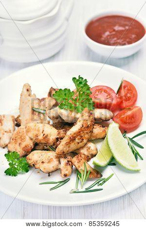 Roast Chicken Fillet Sliced And Vegetables