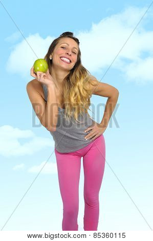 Sexy Beautiful Woman Holding Green Apple Fruit In Healthy Eating And Natural Nutrition Concept