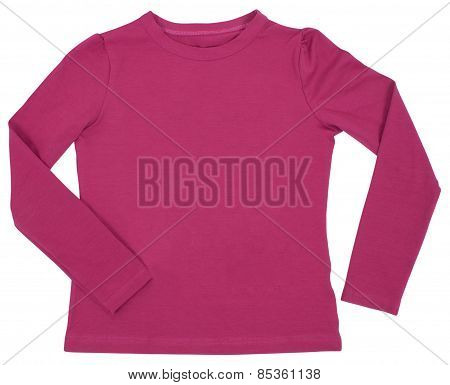 Child pink long sleeved isolated on white background