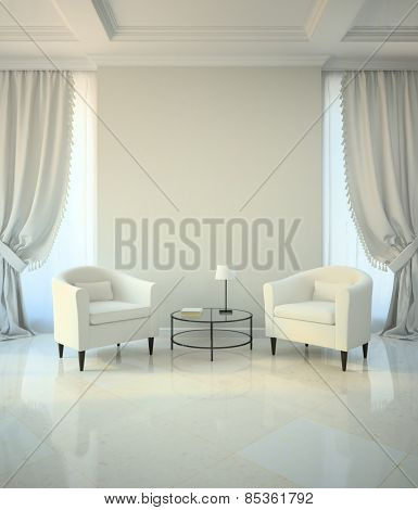 Room in classic style with two armchairs and coffee table 3D