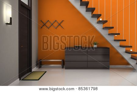 Hallway with orange wall and stair 3D rendering