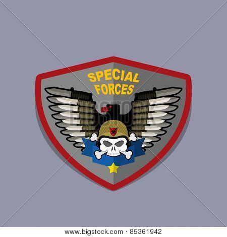Military Emblem with a skull and the weapon. Wings on shield. war logo special force.