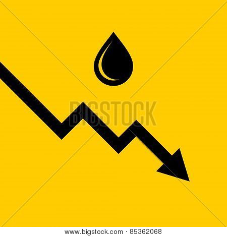 Oil Price Fall Graph. Vector
