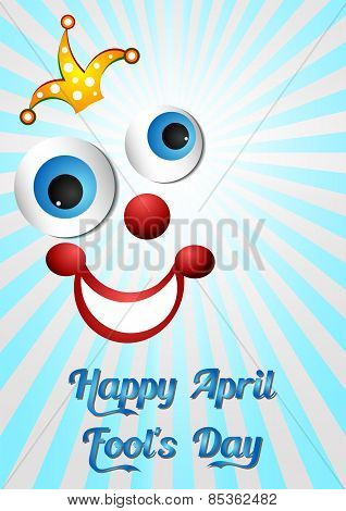 Postcard On April 1 - April Fool's Day. Face Of Joker On Light Blue