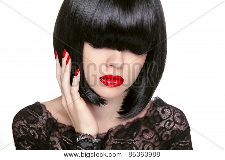 Makeup. Fashion Bob Haircut. Hairstyle. Long Fringe. Short Hair Style. Brunette Girl With Red Lips I