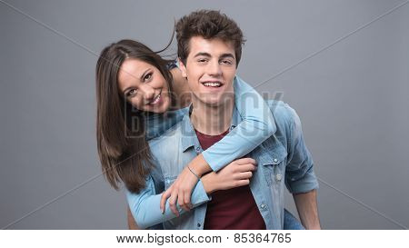 Smiling Couple Having Fun