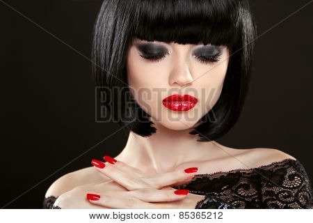 Fashion Model Girl Face, Beauty Woman Makeup And Red Manicure. Bob Black Hairstyle. Brunette Woman P