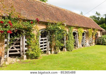 Stables in grounds of Barrington Court near Ilminster Somerset England uk Tudor manor house