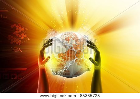 Hand showing earth globe close in chain