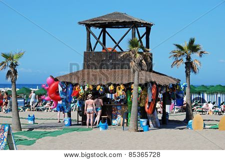 Snack stall on the beach, Spain.