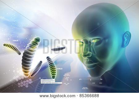 eye looking ahead against bacteria