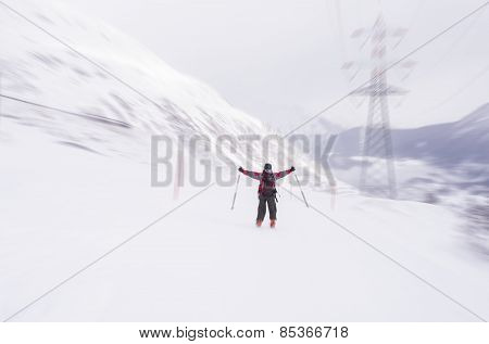 Speed Skiing In Winter Season