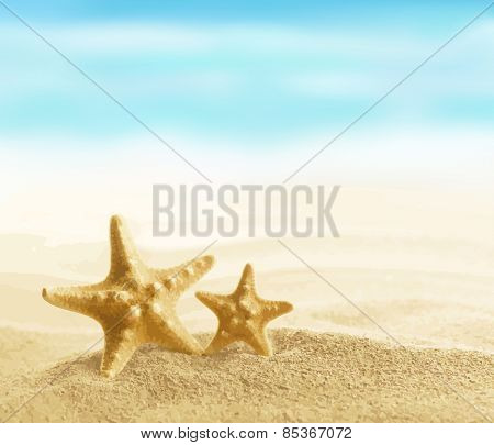 Starfish on sandy beach vector illustration EPS 8.