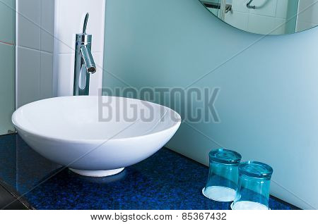 Bathroom sink counter tap mixer glass blue