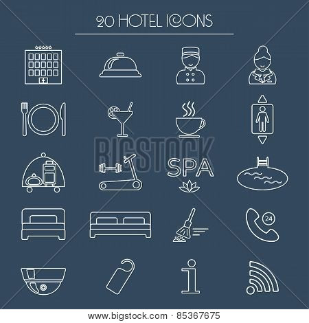 Icons Of Hotel Service. Thin White Line Icon. Hotel Glyph. Vector
