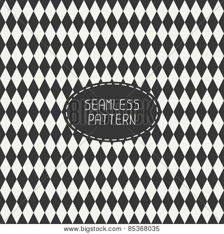 Geometric monochrome hipster line seamless pattern with rhombus, square. Paper for scrapbook. Tiling