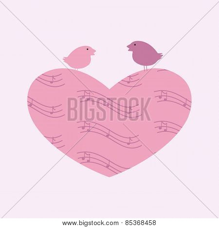 Musical Heart And Birds