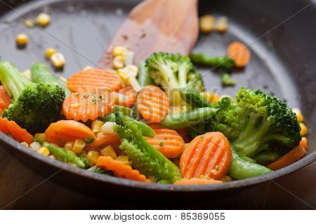 fresh vegetables on a frying pan, healthy breakfast
