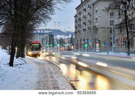 Vilnius City White Winter Morning Time Panorama