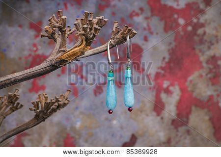 Close Up Of Precious Stones Earrings