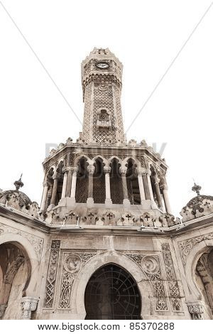 Clock Tower Isolated On White, Izmir, Turkey