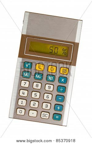 Old Calculator Showing A Percentage - 50 Percent