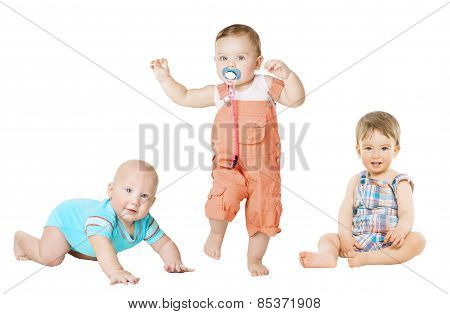 Children Active Growth Portrait, Little Kids From 6 Months To 1 Year Old, Baby Activity Crawling