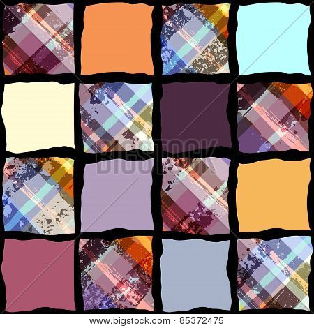 Abstract geometric pattern in patchwork style with plaid element