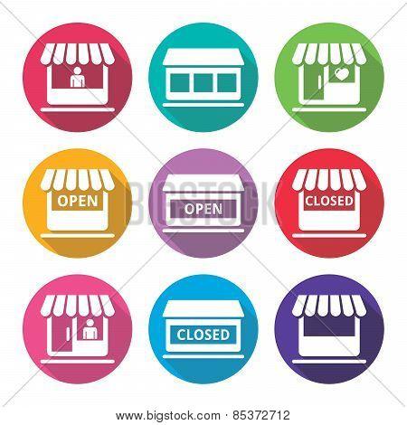 Shop or store, supermarket flat design icons set