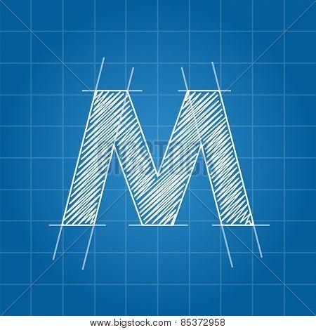 M letter architectural plan