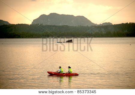 Canoeing On Phitak Island,thailand