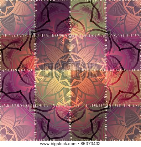 Mandala pattern on patchwork background
