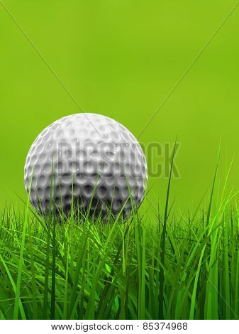 Green fresh natural 3d conceptual grass field on blur background with a white golf ball at horizon